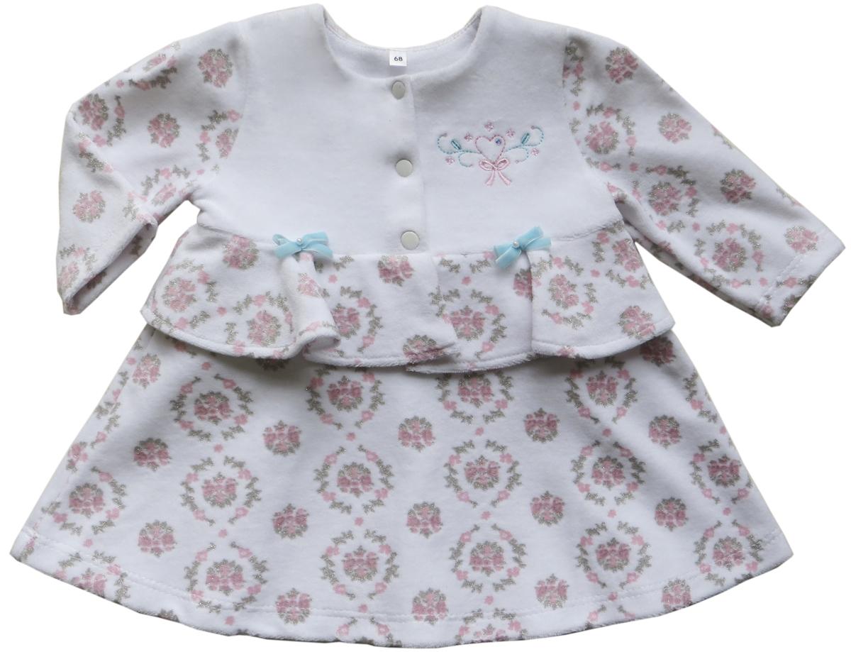 Платье для девочки Soni Kids Романтика, цвет: белый. З6105003. Размер 74З6105003Велюровое платье Soni Kids займет достойное место в гардеробе вашей юной модницы. Модель с круглым вырезом горловины и длинными рукавами дополнена с баской и украшена вышивкой. На ткани нанесен глиттер. На груди расположена застежка на кнопки. В таком платье ваша девочка всегда будет в центре внимания!