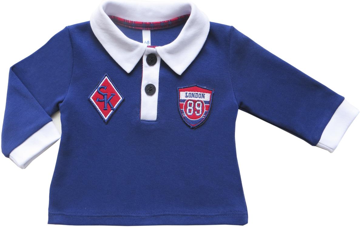 Джемпер для мальчиков Soni Kids Спортивная Академия, цвет: синий. З6106001. Размер 80З6106001Джемпер -поло для мальчкика. Декорирован нашивками