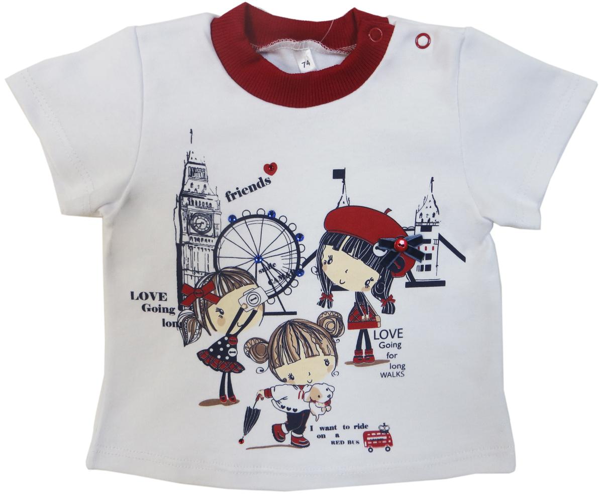 Футболка для девочки Soni Kids Путешествие в Лондон, цвет: белый. З6106004. Размер 86 футболка soni kids футболка подводный мир