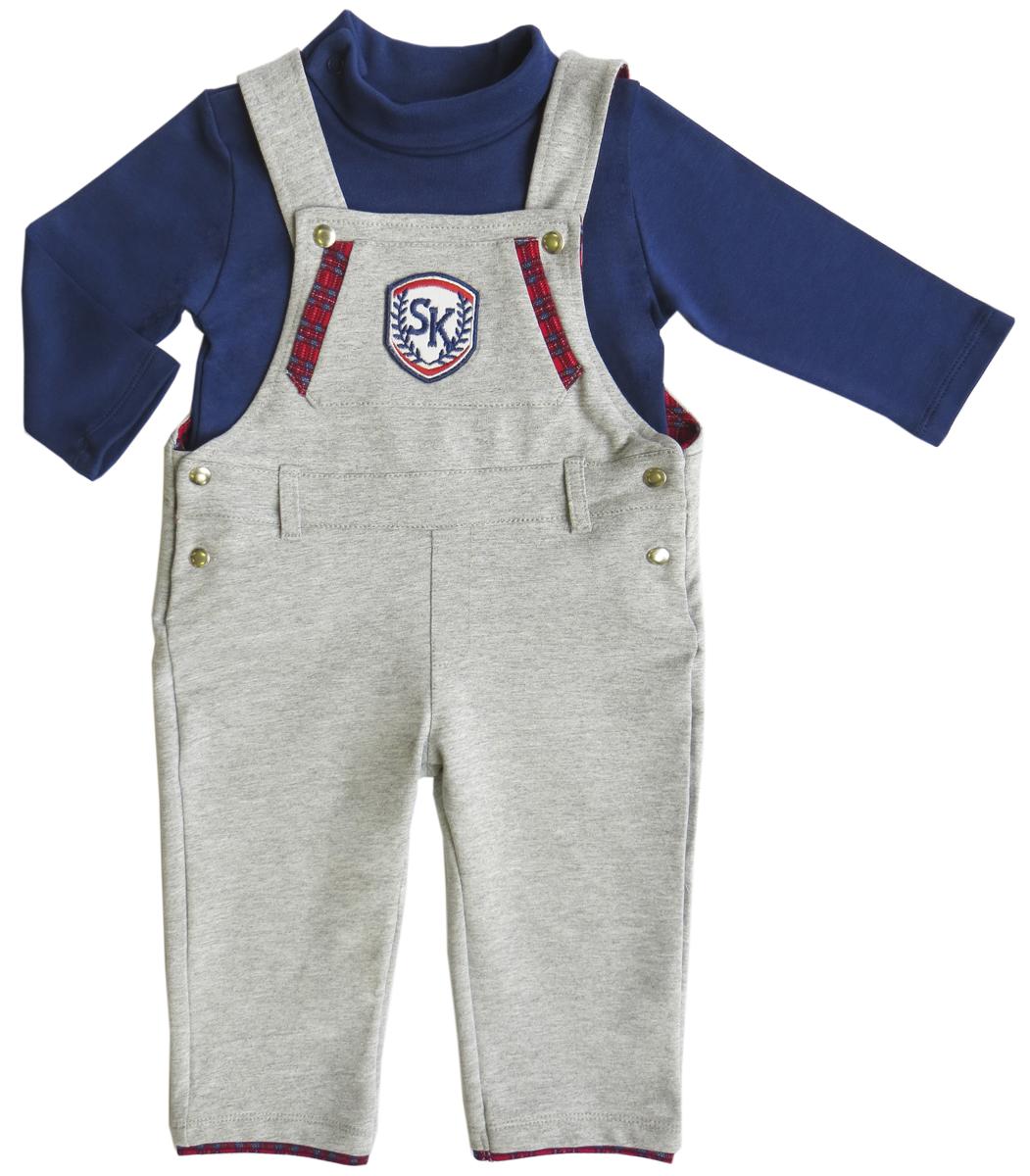 Комплект для мальчика Soni Kids Спортивная Академия: водолазка, полукомбинезон, цвет: синий, серый. З6121003. Размер 86 soni kids боди водолазка для мальчика soni kids