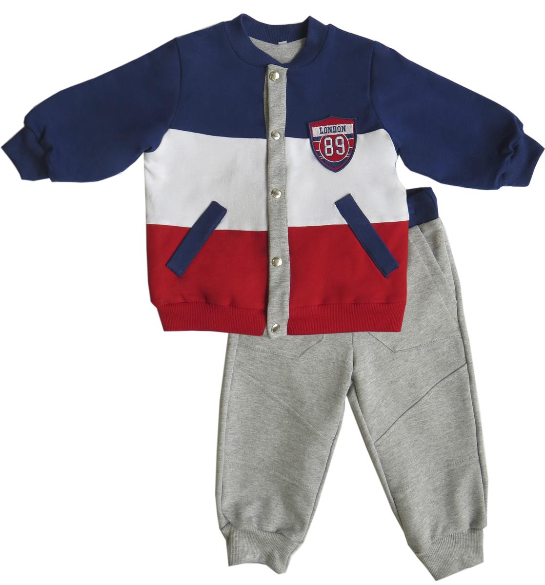 Спортивный костюм для мальчика Soni Kids Спортивная Академия, цвет: синий, серый. З6121006. Размер 86З6121006Стильный спортивный костюм для мальчика от Soni Kids, состоящий из толстовки и брюк, идеально подойдет вашему ребенку и станет отличным дополнением к его гардеробу. Изготовленный из натурального хлопка, он очень мягкий и приятный на ощупь, не сковывает движения и позволяет коже дышать, не раздражает даже самую нежную и чувствительную кожу ребенка, обеспечивая наибольший комфорт. Толстовка с длинными рукавами застегивается спереди на кнопки. По бокам предусмотрены два втачных кармашка. Понизу модель дополнена широкой трикотажной резинкой, а на рукавах имеются манжеты, не стягивающие запястья. Спортивные брюки на широком эластичном на поясе не сдавливают животик ребенка и не сползают. Брюки также дополнены боковыми карманами. Снизу брючин предусмотрены широкие манжеты. Модель оформлена нашивками. В таком костюме ваш ребенок будет чувствовать себя комфортно, уютно и всегда будет в центре внимания.