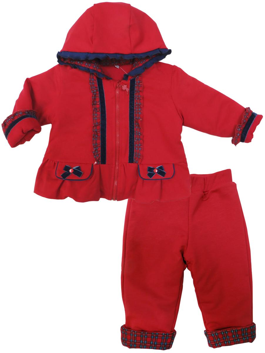 Комплект для девочки Soni Kids Путешествие в Лондон: толстовка, брюки, цвет: красный. З6121014. Размер 98
