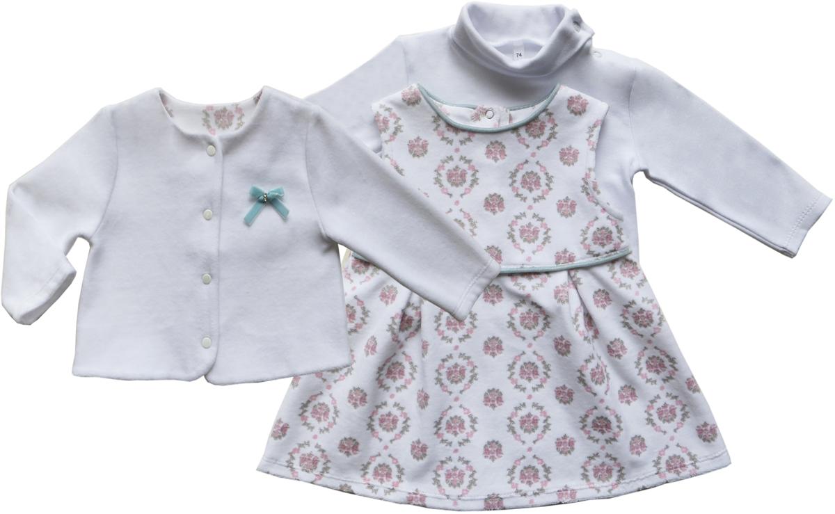 Комплект для девочки Soni Kids Романтика: жакет, сарафан, водолазка, цвет: белый. З6121016. Размер 86 soni kids кофточка