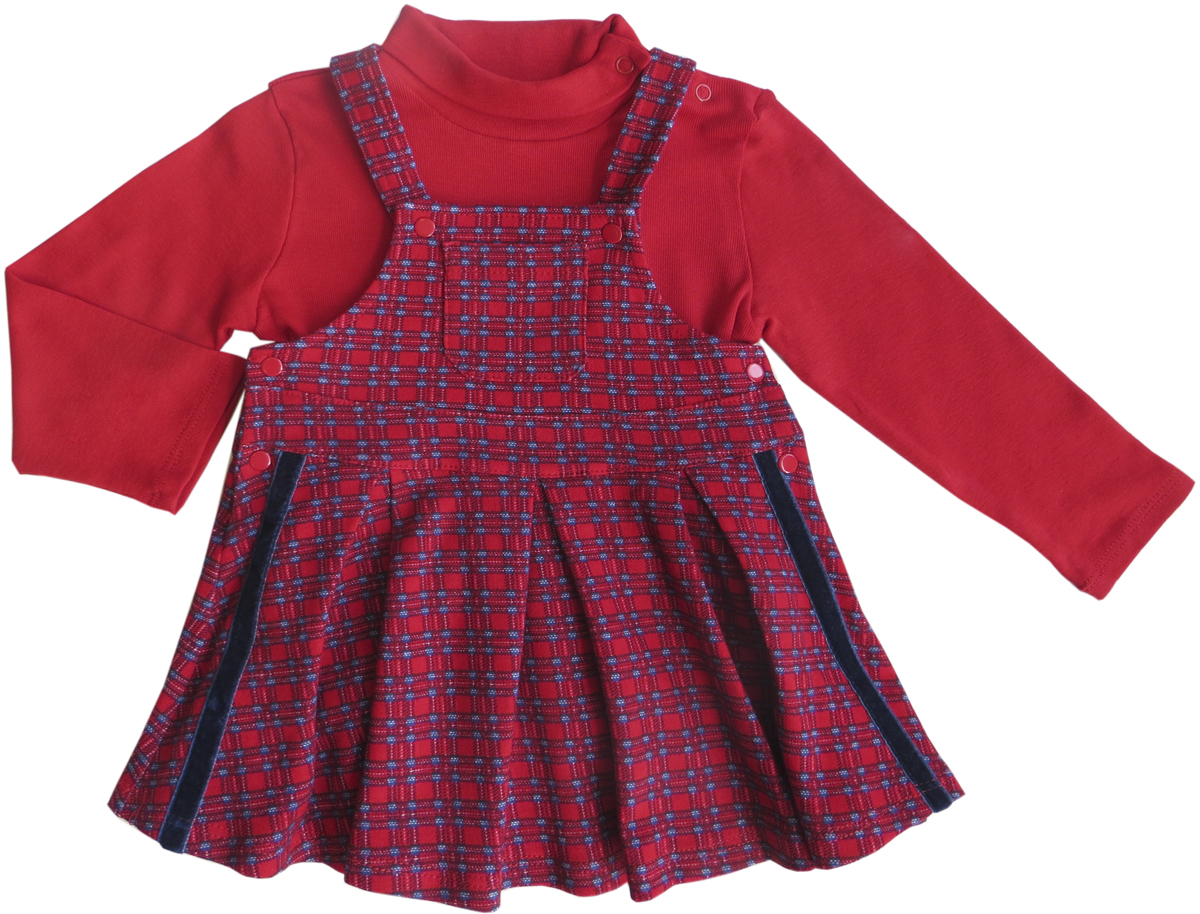 Комплект для девочки Soni Kids Путешествие в Лондон: водолазка, сарафан, цвет: красный. З6121020. Размер 80 комплекты нательные для малышей soni kids комплект сарафан водолазка