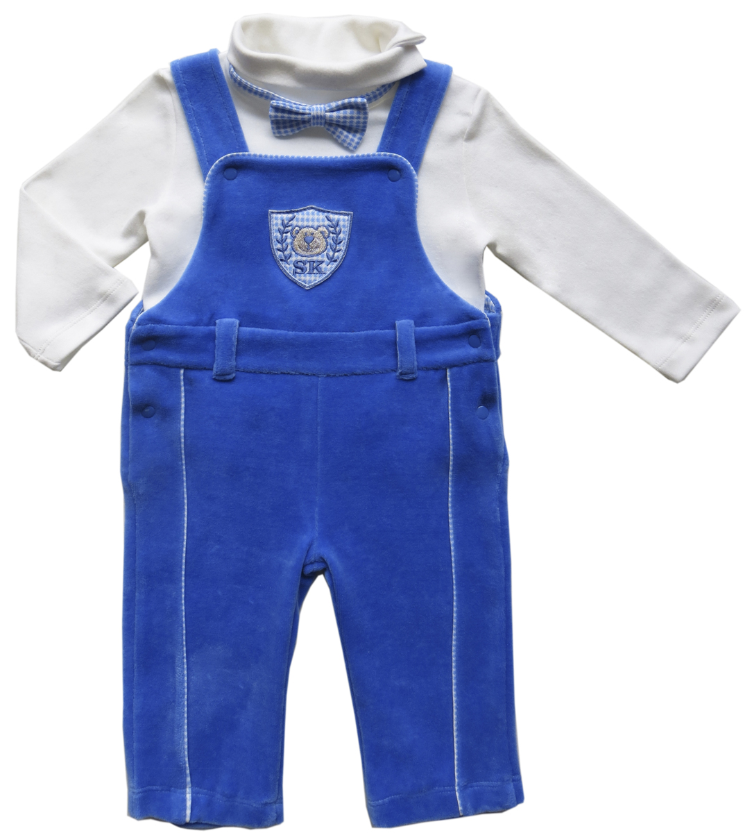 Комплект для мальчика Soni Kids Мишка джентельмен: водолазка, полукомбинезон, цвет: белый, синий. З6121023. Размер 86 soni kids кофточка