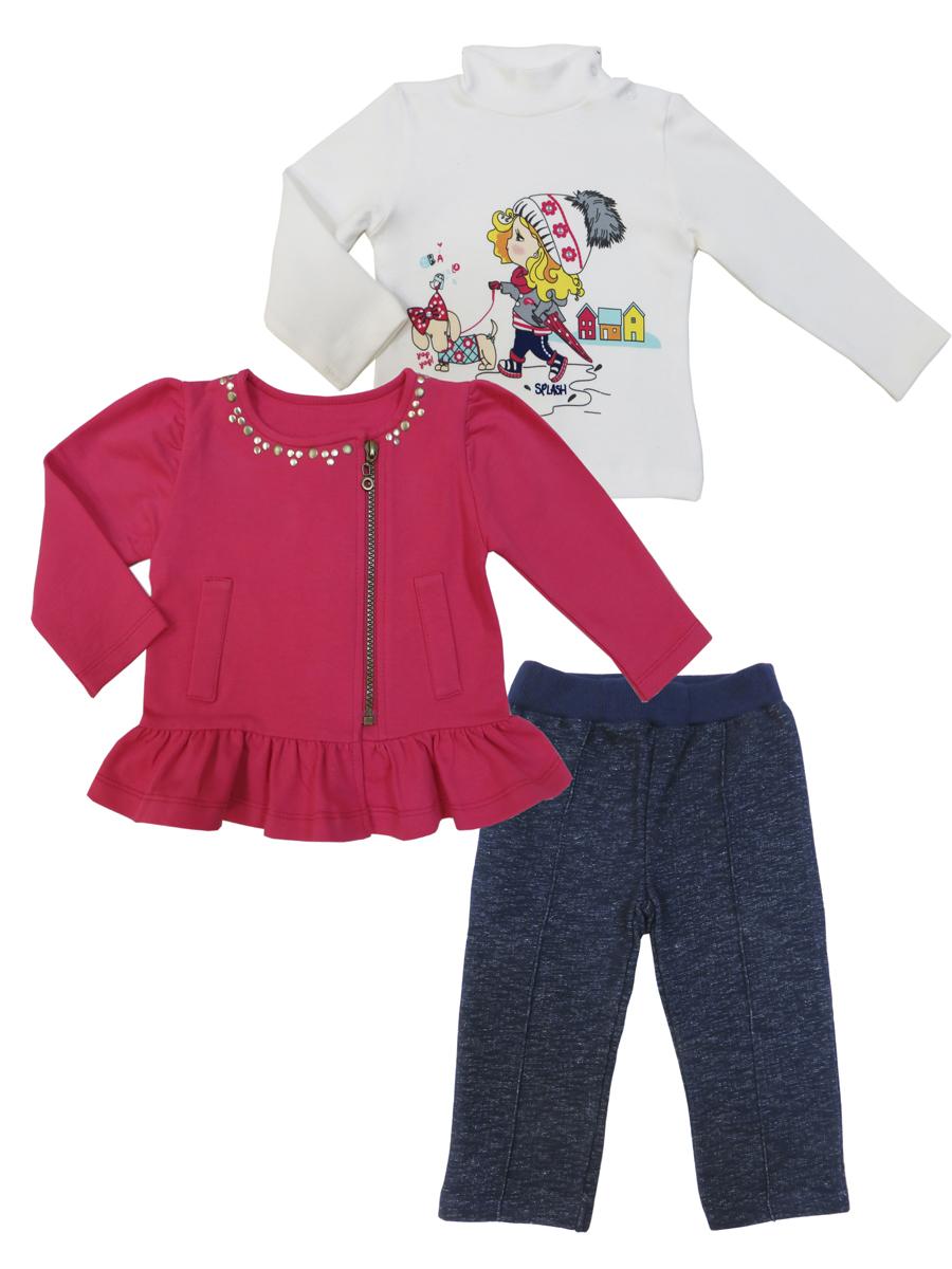 Комплект для девочки Soni Kids Прогулка с Мими: водолазка, толстовка, брюки, цвет: мультиколор. З7121029. Размер 86 soni kids кофточка