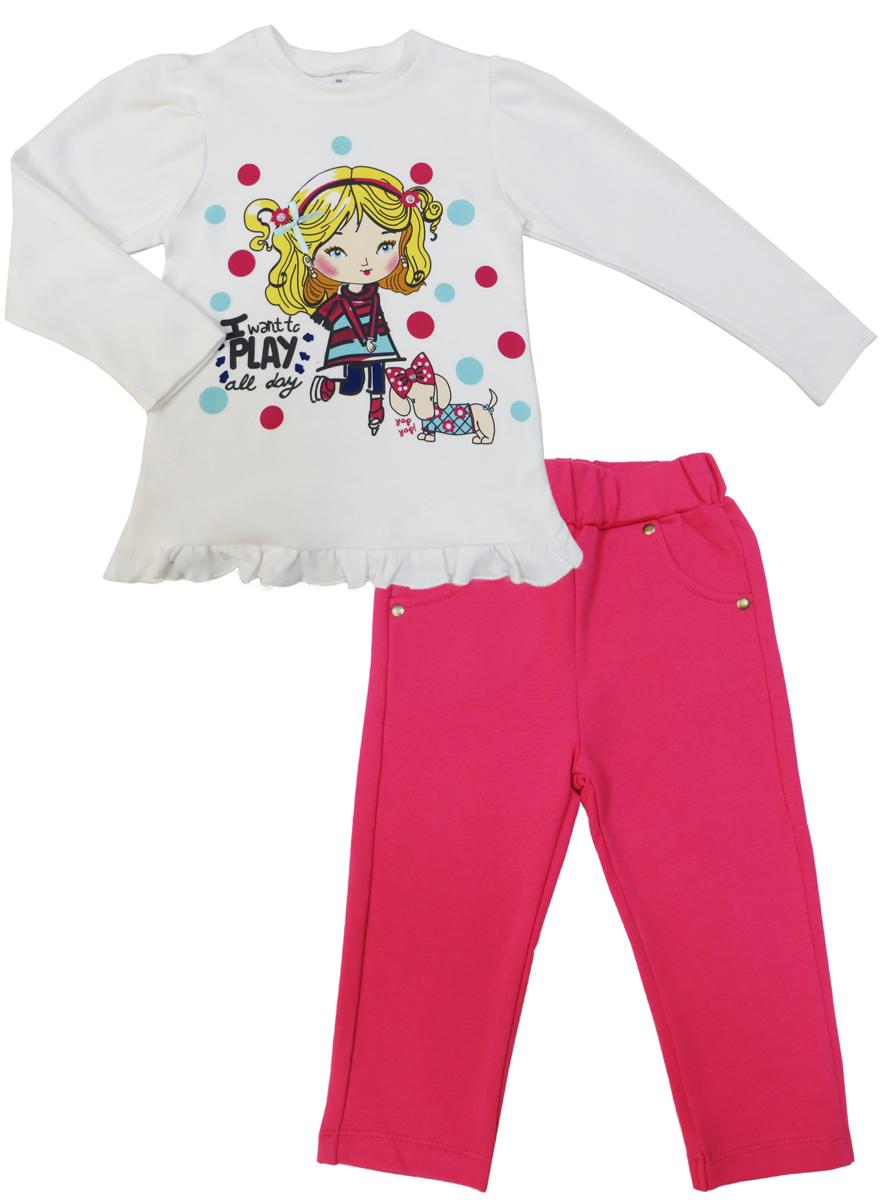Комплект для девочки Soni Kids Прогулка с Мими: лонгслив, брюки, цвет: розовый, белый. З7121032. Размер 98З7121032Комплект для девочки от Soni Kids, состоящий из лонгслива и брюк прекрасно подойдет как для домашнего использования, так и для прогулок на свежем воздухе. Мягкий, приятный к телу, хлопок не сковывает движений. Лонгслив с круглым вырезом горловины и длинными рукавами спереди оформлен ярким принтом и дополнен баской. Брюки прямого кроя на мягкой удобной резинке, которая не сдавливает живот ребенка, выполнены в лаконичном цвете.