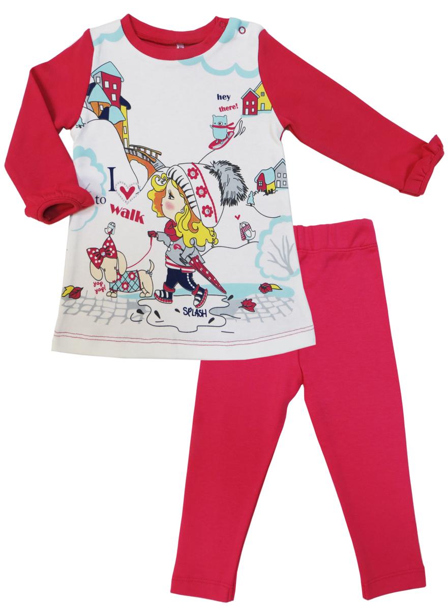 Комплект для девочки Soni Kids Прогулка с Мими: туника, леггинсы, цвет: розовый, белый. З7121039. Размер 80З7121039Комплект для девочки от Soni Kids, состоящий из туники и брюк-леггинсов прекрасно подойдет как для домашнего использования, так и для прогулок на свежем воздухе. Мягкий, приятный к телу, хлопок не сковывает движений. Туника с круглым вырезом горловины и длинными рукавами спереди оформлена ярким принтом. Леггинсы прямого кроя на мягкой удобной резинке, которая не сдавливает живот ребенка, выполнены в лаконичном цвете.