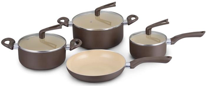 Набор посуды Galaxy, с керамическим покрытием, 7 предметовгл9501Набор посуды Galaxy состоит из двух кастрюль, ковша и сковороды. Изделия выполнены из высококачественного алюминия и имеют крышки из жаропрочного стекла. Японское 7-слойное керамическое покрытие в наборах посуды идеально подойдет для любителей здоровой пищи. В такой посуде можно готовить без масла, продукты при этом не пригорают! Благодаря особой технологии закаливания покрытие имеет высокую прочность и совершенную гладкость. Даже очень сильные загрязнения легко удаляются обычной бумажной салфеткой. Изделия оснащены эргономичными ручками. Термоаккумулирующее дно подходит для всех типов плит, в том числе индукционных.Объем кастрюль: 5 л.; 2,9 л, Объем ковша: 1,6 лДиаметр сковороды: 24 см