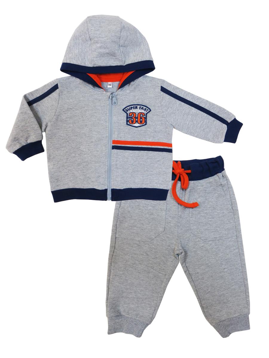 Спортивный костюм для мальчика Soni Kids Гонщик, цвет: серый. Л7121010. Размер 74Л7121010Спортивный костюм для мальчика Soni Kids, состоящий из толстовки и брюк, идеально подойдет вашему ребенку и станет отличным дополнением к его гардеробу. Изготовленный из натурального хлопка, он очень мягкий и приятный на ощупь, не сковывает движения и позволяет коже дышать, не раздражает даже самую нежную и чувствительную кожу ребенка, обеспечивая наибольший комфорт. Толстовка с капюшоном и длинными рукавами застегивается на застежку-молнию. Понизу модель дополнена широкой трикотажной резинкой, а на рукавах имеются манжеты, не стягивающие запястья. Спортивные брюки на широком эластичном на поясе с завязками не сдавливают животик ребенка и не сползают. Снизу брючин предусмотрены широкие манжеты. Толстовка оформлена нашивкой, а брюки дополнены боковыми карманами. В таком костюме ваш ребенок будет чувствовать себя комфортно, уютно и всегда будет в центре внимания.