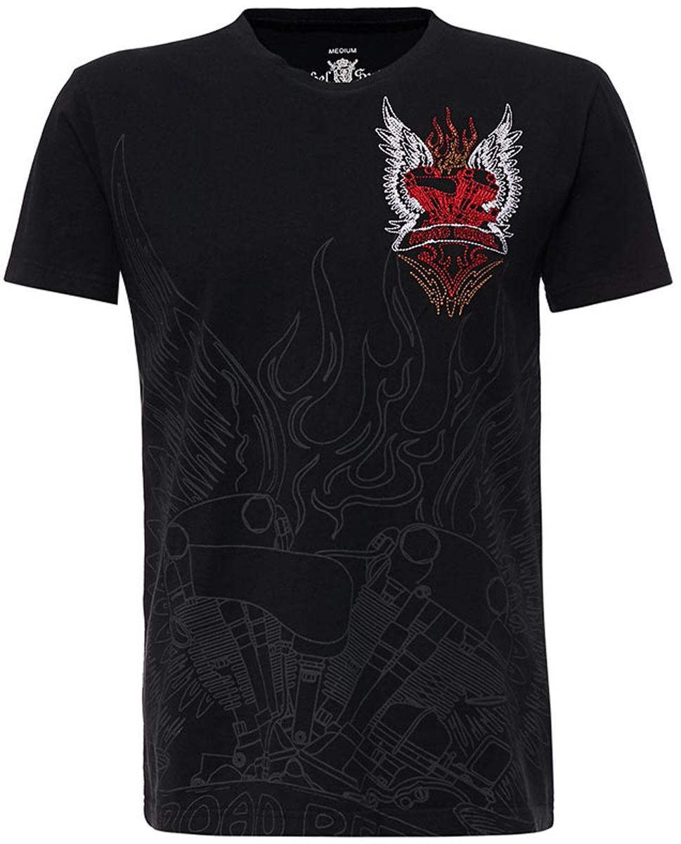 Футболка мужская Rebel Spirit, цвет: черный. SSK151761. Размер XXXL (56) футболка мужская rebel spirit цвет черный ssk151763 размер xl 52