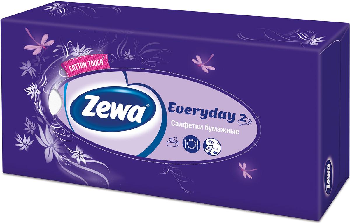 Zewa Платки косметические в коробке Everyday, двухслойные, цвет: фиолетовый, стрекозы, цветы, 100 шт30102mr