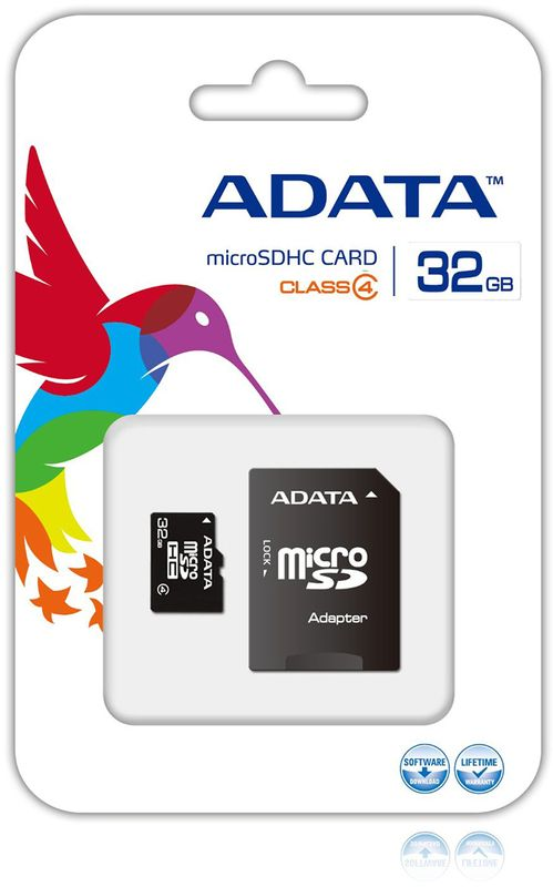 ADATA microSDHC Class4 32GB карта памяти (AUSDH32GCL4-ROTGMBK)23365Карта памяти microSDHC 32GB ADATA Class4 (AUSDH32GCL4-ROTGMBK) + OTG reader
