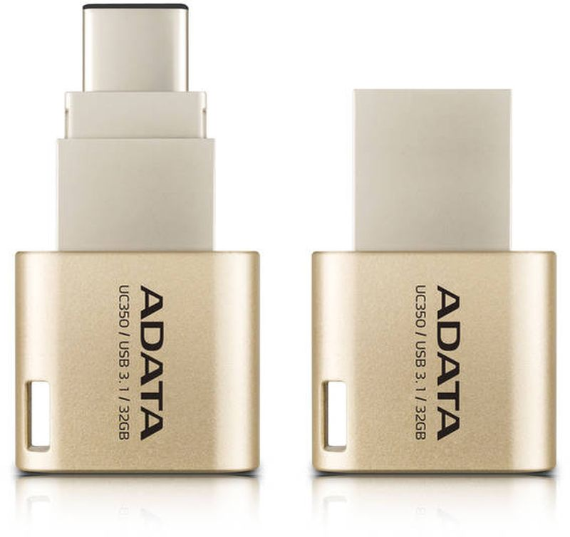 ADATA AUC350 32GB, Golden USB флеш-накопитель23530Накопитель UD 3.0 ADATA 32GB AUC350 golden (AUC350-32G-CGD) 100MB/s 30MB/s Type-C
