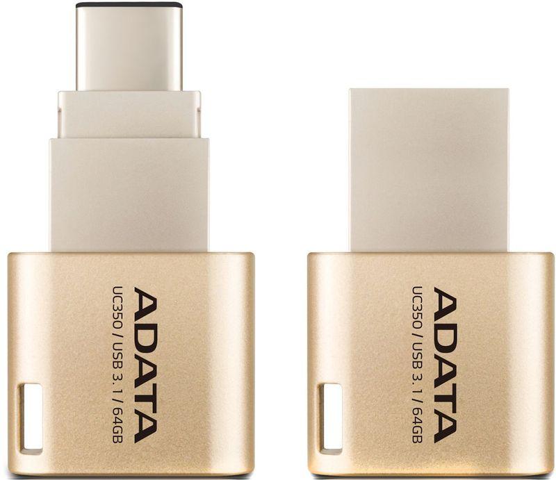 ADATA AUC350 64GB, Golden USB флеш-накопитель adata auc350 32gb golden usb флеш накопитель