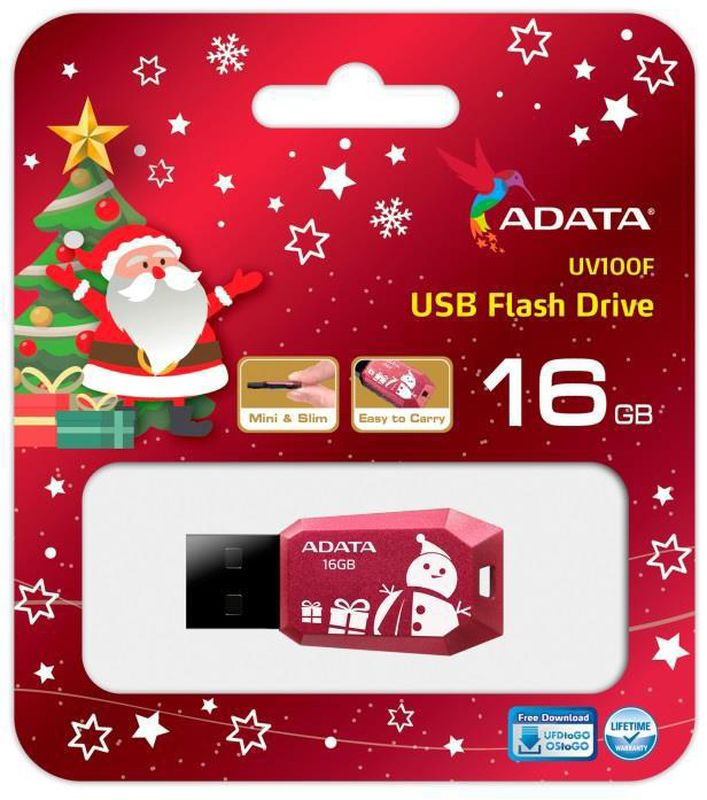 ADATA UV100 16GB, Red White USB флеш-накопитель23595Тонкий флеш-накопитель ADATA UV100 расширяет предлагаемый широкий ассортимент портативных устройствхранения данных.Накопитель имеет бесколпачковую конструкцию, исключающую риск потери колпачка. Отверстие в корпусепозволяет легко носить накопитель на шнурке или брелоке для ключей. Для тех, кто разбирается в моде,накопитель выгодно отличается внешним видом, напоминающим огранку бриллианта, что позволяет владельцамподчеркнуть свой уникальный личный стиль.Обладая длиной всего 41 мм и толщиной лишь 5.8 мм, этот накопитель является в высшей степени компактным иэкономичным решением для тех, кто считает переносимость данных насущной необходимостью.
