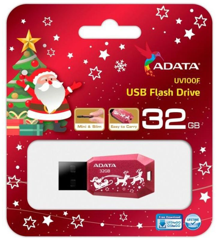 ADATA UV100 32GB, Red USB флеш-накопитель23596Накопитель UD 2.0 ADATA 32GB UV100 Red (AUV100F-32G-RRD ) New Year Edition 18MB/s 6MB/s