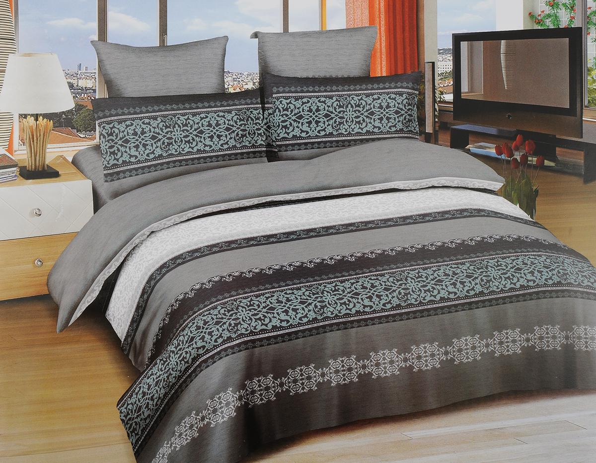 Комплект белья Amore Mio Vestfold, 2-спальный, наволочки 70х70, цвет: черный, серый, зеленый90288Комплект постельного белья Amore Mio Vestfold изготовлен из сатина (100% хлопок). Сатин - это ткань сатинового (атласного) переплетения нитей. Имеет гладкую, шелковистую лицевую поверхность, на которой преобладают уточные нити. Нано-инновации позволили открыть новую ткань, которая сочетает в себе широкий спектр отличных потребительских характеристик и невысокой стоимости. Легкая, плотная, мягкая ткань, приятна и обладает эффектом персиковой кожуры. Отлично стирается, гладится, быстро сохнет.Пододеяльник выполнен с удобной застежкой-молнией.Комплект состоит из пододеяльника, простыни и двух наволочек.