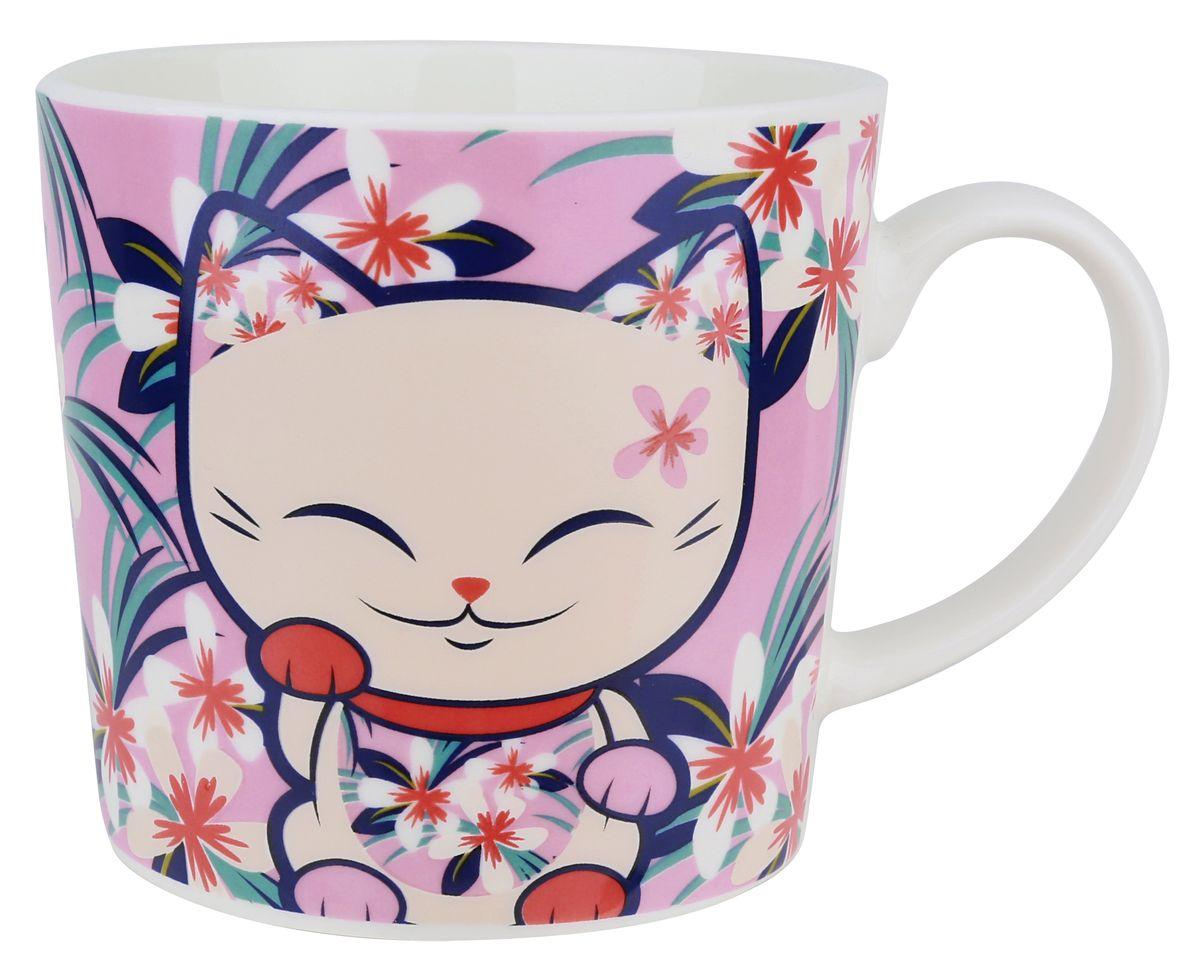 Кружка Mani The Lucky Cat Кот Удачи, цвет: розовый, 350 мл040362Забавная фарфоровая кружка с изображением Кота Удачи, который приносит успех во всем. Понравится всем ценителям прекрасного.