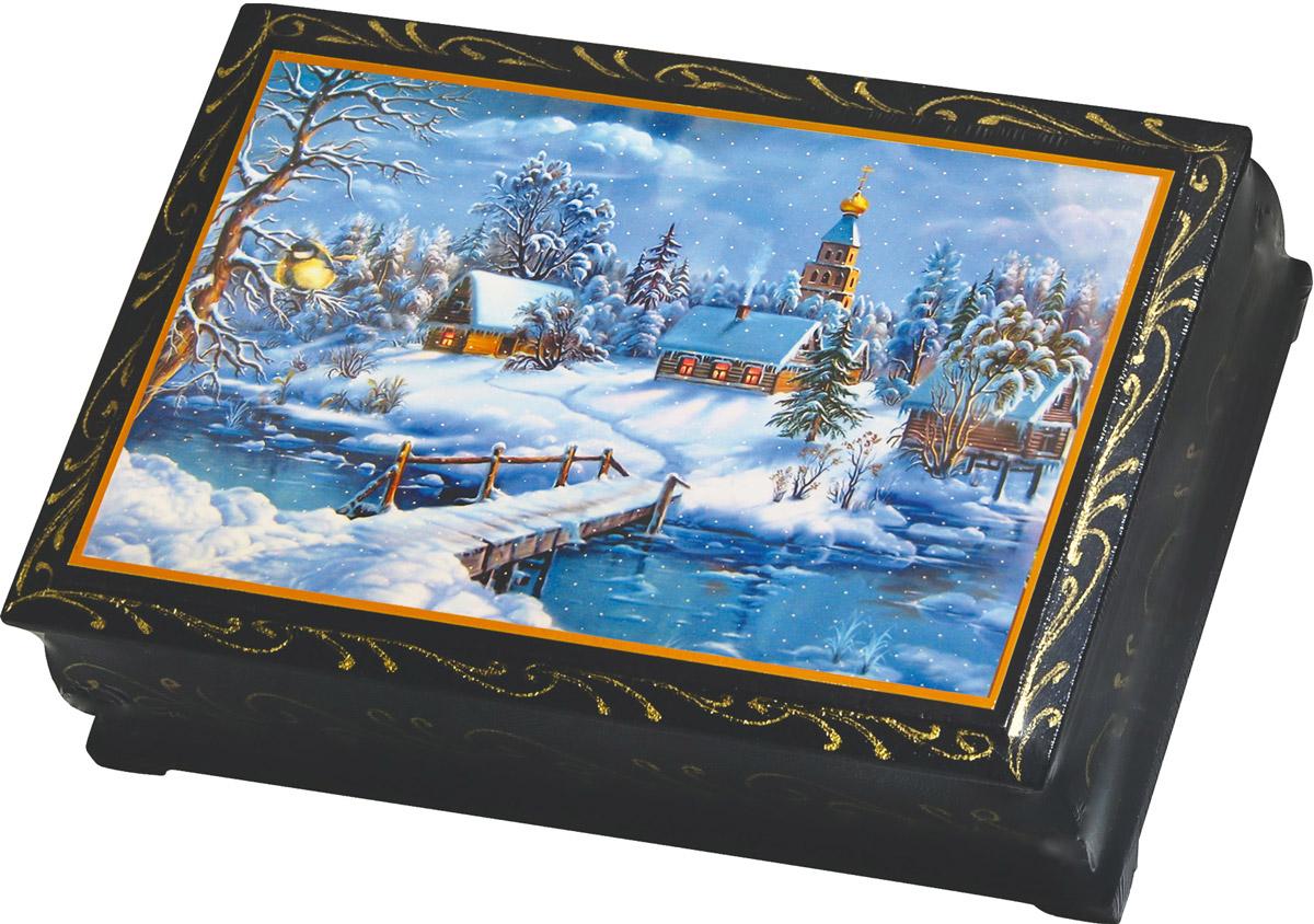 Кремлина С Новым годом и Рождеством курага шоколадная с грецким орехом в шкатулке, 150 г кремлина камин курага шоколадная с грецким орехом конфеты 150 г