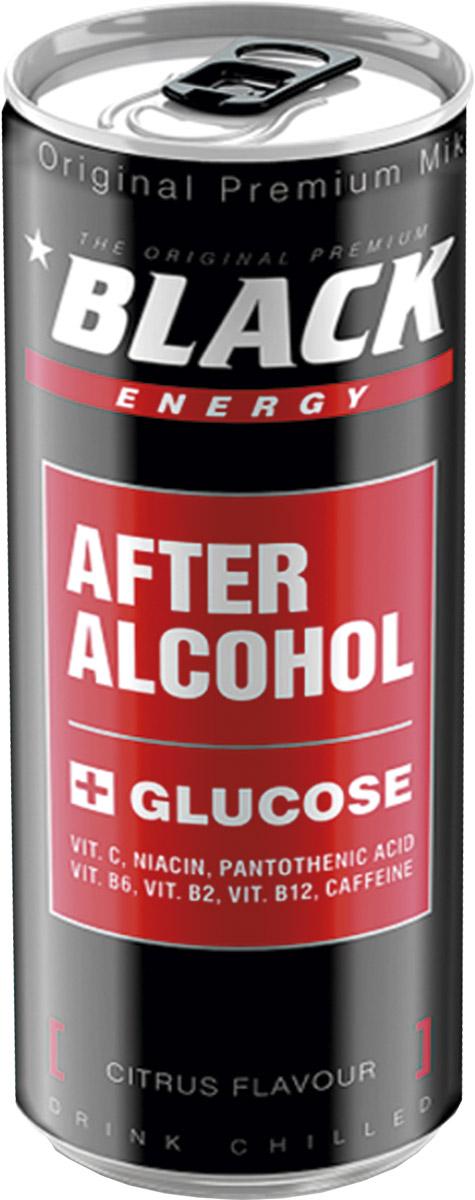Black Energy After Alcohol энергетический напиток, 0,25 млTNEPAFA999Black After Alcohol - революционный новый продукт,который помогает вам противостоять ужасным симптомам похмелья. Газированный освежающий напиток с освежающим цитрусовым вкусом и уникальным рецептом: кофеин - дает импульс мощности и энергии; глюкоза