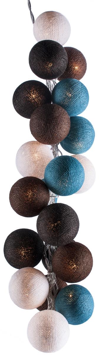 Гирлянда электрическая Гирляндус Шоколад с мятой, из ниток, LED, 220В, 50 ламп, 7,5 м4670025843997Нежная гирлянда ручной работы. Каждый шарик сделан вручную из ниток и клея, светится приятным мягким светом. Шарики хрупкие, но даже если вы их помнёте, их всегда можно выправить. Инструкция прилагается.
