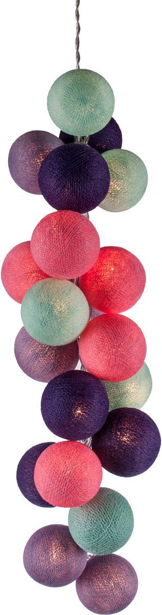 Гирлянда электрическая Гирляндус Черничные ночи, из ниток, LED, 220В, 50 ламп, 7,5 м4670025843973Нежная гирлянда ручной работы. Каждый шарик сделан вручную из ниток и клея, светится приятным мягким светом. Шарики хрупкие, но даже если вы их помнёте, их всегда можно выправить. Инструкция прилагается.