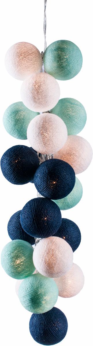 Гирлянда электрическая Гирляндус Циан, из ниток, LED, 220В, 50 ламп, 7,5 м4670025843935Нежная гирлянда ручной работы. Каждый шарик сделан вручную из ниток и клея, светится приятным мягким светом. Шарики хрупкие, но даже если вы их помнёте, их всегда можно выправить. Инструкция прилагается.