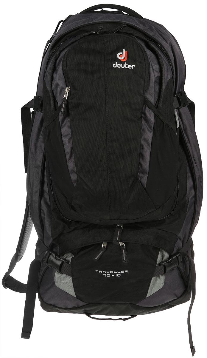 Рюкзак туристический Deuter Traveller, цвет: черный, серый металлик, 70 л3510115_7400Ваш незаменимый спутник в путешествиях! Рюкзак, который можно упаковать как чемодан. убираемая система подвески Vari-Quick, X-образный каркас и анатомический набедренный пояс для удобной переноски тяжелых грузов U-образная молния позволяет полностью открыть основное отделение подобно чемодану. Можно застегнуть на молнию разделительную перегородку, и тогда нижнее отделение можно использовать отдельно съёмный рюкзак с вентилируемой спинкой, внутренним карманом для мелких вещей, совместимый с питьевой системой (2л) внутренние клапаны для упаковки вещей несколько сетчатых карманов на молнии , компрессионные ремни три ручки для переноски съемный плечевой ремень. Вес: 3250 г Объем: 70 + 10 л Размер: 74 х 38 х 32 см Материал: 55% полиэстер, 45% нейлон. Deuter-MacroLite 420. Специальная полиамидная ткань очень плотного плетения из нитей 420 den имеет высокую стойкость к истиранию. Эта прочная высококачественная ткань применяется для моделей серий Guide и Traveller. ПУ покрытие.Deuter-Duratex Полиамидная ткань, обладающая исключительной стойкостью к истиранию и прочностью на разрыв. Применяется для изготовления дна всех рюкзаков большого объема. Изготовлена из нити 1000 den и имеет мощное ПУ покрытие с внутренней стороны.