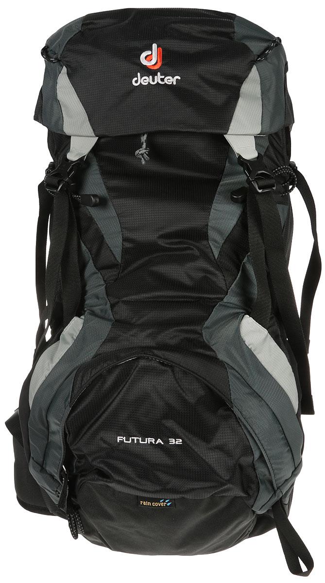 Рюкзак туристический Deuter Futura, цвет: черный, темно-серый, 32 л34254_7410Рюкзак туристический Deuter Futura выполнен с верхней загрузкой, отлично подойдет для трекинга, прогулок и походов, восхождений via ferrata. Модель обладает эффективной системой вентиляции спины Aircomfort, а также полным набором функций. Создан новый вариант рюкзака Deuter Futura, с более короткими узкими плечевыми лямками SL и с более мягким набедренным поясом конической формы, который идеально подходит для любого телосложения. Набедренный пояс анатомической формы, с мягкой подкладкой изготовлен из двухслойного поропласта и застегивается на застежку Pull-Forward (с затяжкой вперед). Пояс дополнен накладным карманом на застежке-молнии, для мелких вещей. Плечевые лямки выполнены в анатомической форме из сетки Mesh Tex со стабилизирующими ремнями. Боковые стенки оснащены карманами со складками.Рюкзак выполнен с карманом в верхнем клапане и передним карманом на молнии. Модель имеет петли для телескопических палок и ледовых инструментов, петли на верхнем клапане для крепления дополнительного снаряжения. Надежный и универсальный туристический рюкзак дополнен встроенным чехлом от дождя. Изделие может подключать питьевую систему, через специальную систему. Вес: 1600 грамм. Объем: 32+4 (боковые карманы) литров. Размеры: 65 x 34 x 24 см.Что взять с собой в поход?. Статья OZON Гид