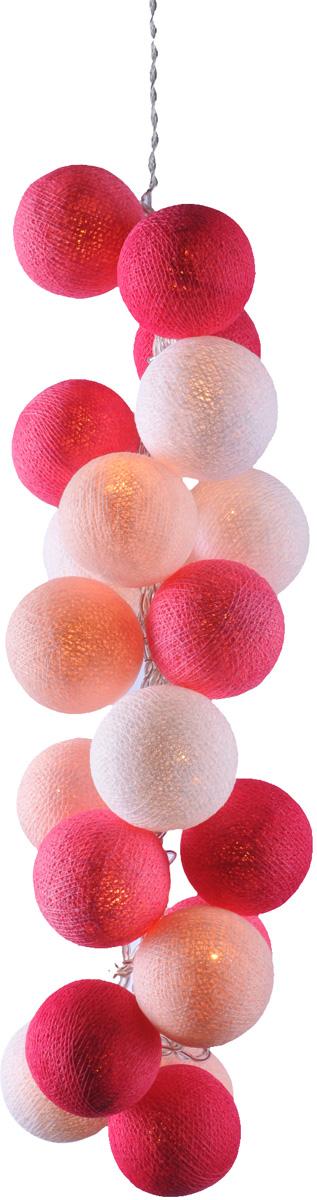 Гирлянда электрическая Гирляндус Фламинго, из ниток, LED, 220В, 20 ламп, 3 м4670025842662Интерьерная гирлянда ручной работы. Шарики изготовлены из ротанговых прутиков вручную и окрашены натуральными красителями. При размещении возле стены они отбрасывают красивые узорные тени, подчёркивающие любой интерьер. В гирлянде используются низковольтные лампочки. Запасные лампочки и инструкция - в комплекте.