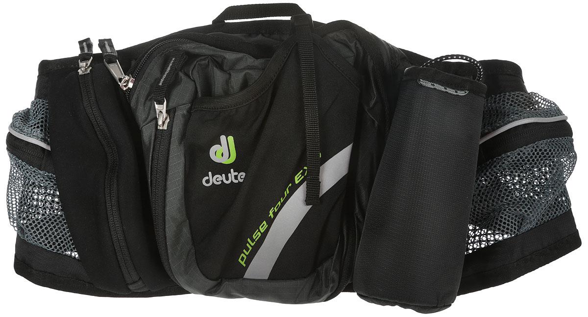 Сумка поясная Deuter Pulse Four, цвет: серый, 2 л1036596Эта легкая спортивная поясная сумка позволяет вам путешествовать целый деньбез груза за спиной! В Deuter Pulse Four достаточно места для всегонеобходимого в пешей прогулке или велосипедной поездке. Вентилируемаянабивка спинки очень удобна при ношении и быстро сохнет. Особенности:расширяемое центральное отделение с внутренними карманами;отражатели ЗМ; широкие сетчатые набедренные крылья с сетчатымикарманаминамолнии; карман из неопрена на молнии; эластичный передний карман; компрессионный ремень; регулируемый поясной ремень; крючок дляключей;петлядля крепления ночного габаритного фонарика.