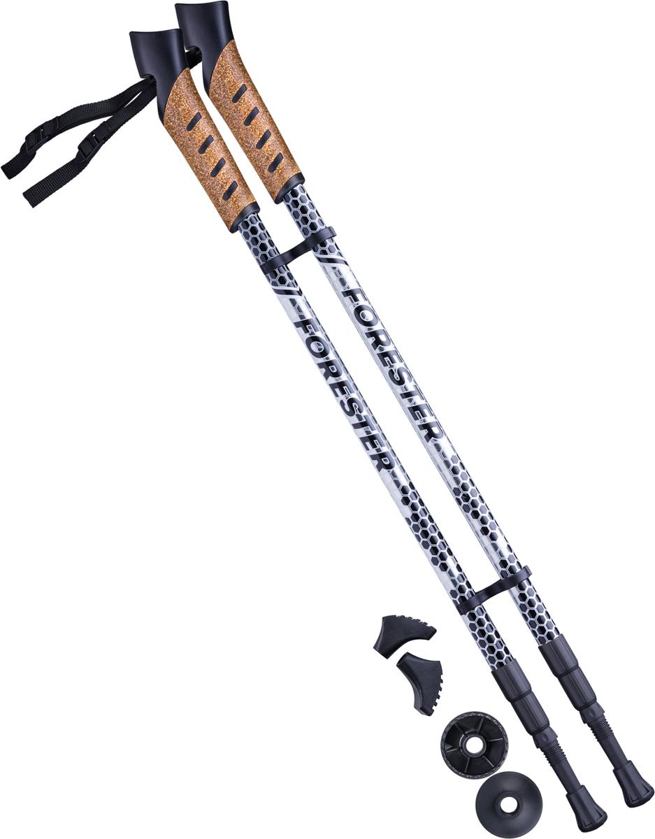 Палки для скандинавской ходьбы Berger Forester, трехсекционные, цвет: серый, черный, 67-135 см, 2 штУТ-00010963Трехсекционная модель палок для скандинавской ходьбы Forester выполнена из легкого и прочного алюминия, оснащена пробковыми ручками с удобными регулирующимися ремешками.Съемный механизм ручки позволяем менять ремешок на темляк – его можно приобрести отдельно на нашем сайте. Модель выполнена в стильном тематическом «лесном» дизайне.Телескопическая система раздвижения позволяет сложить палки до минимального размера для удобного хранения и транспортировки. Пластиковые фиксаторы устойчивы к перепадам температур, что позволяет использовать палки в любом сезоне. Надежная система амортизации (технология Anti-Shock) значительно снижает нагрузку на запястья, компенсируя неровности любых поверхностей. Характеристики:Назначение: для ходьбы по асфальту, песчаному грунту и снегуВес пары, гр: 495Материал палки: алюминий 6061Количество секций: 3Длина палки, см: от 67 до 135Диаметр секции, мм: первой внутренней – 14; второй внутренней – 16; внешней - 18Толщина сечения секции, мм: 1Система раздвижения: телескопическаяМатериал ручки: пробка + полипропиленНаличие ремешка/темляка: несъёмный ремешокРегулировка длины съемных ремешков: естьКомплект ограничительных колец: есть Материал подпятников: резинаМатериал наконечника: стальНаличие системы Anti-Shock: естьДиапазон рекомендованной температуры: от -35° до +40°Цвет: серый/черныйВ комплекте: 2 пары подпятников разной формы для комфортной ходьбы по разным поверхностямГарантия: 6 месяцевПроизводство: КНРВес брутто: 0.85 кг.