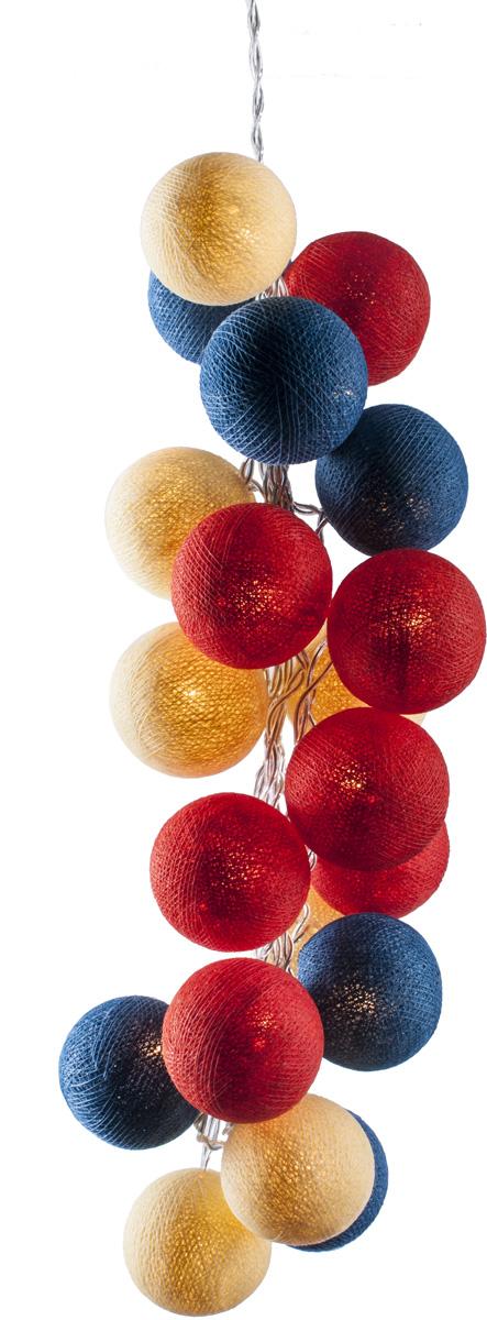Гирлянда электрическая Гирляндус Усть-Ижора, из ниток, LED, 220В, 20 ламп, 3 м4670025842655Интерьерная гирлянда ручной работы. Шарики изготовлены из ротанговых прутиков вручную и окрашены натуральными красителями. При размещении возле стены они отбрасывают красивые узорные тени, подчёркивающие любой интерьер. В гирлянде используются низковольтные лампочки. Запасные лампочки и инструкция - в комплекте.