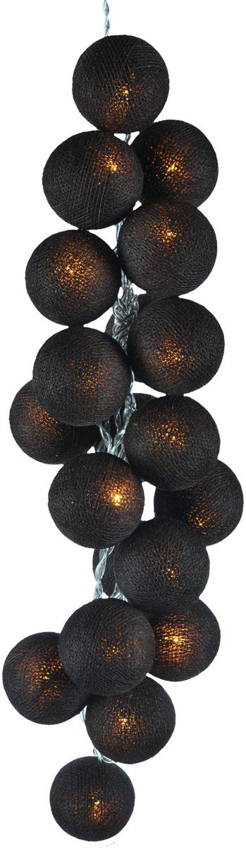 Гирлянда электрическая Гирляндус Темный шоколад, из ниток, LED, от батареек, 10 ламп, 1,5 м4670025840811Нежная гирлянда ручной работы. Каждый шарик сделан вручную из ниток и клея, светится приятным мягким светом. Шарики хрупкие, но даже если вы их помнёте, их всегда можно выправить. Инструкция прилагается.