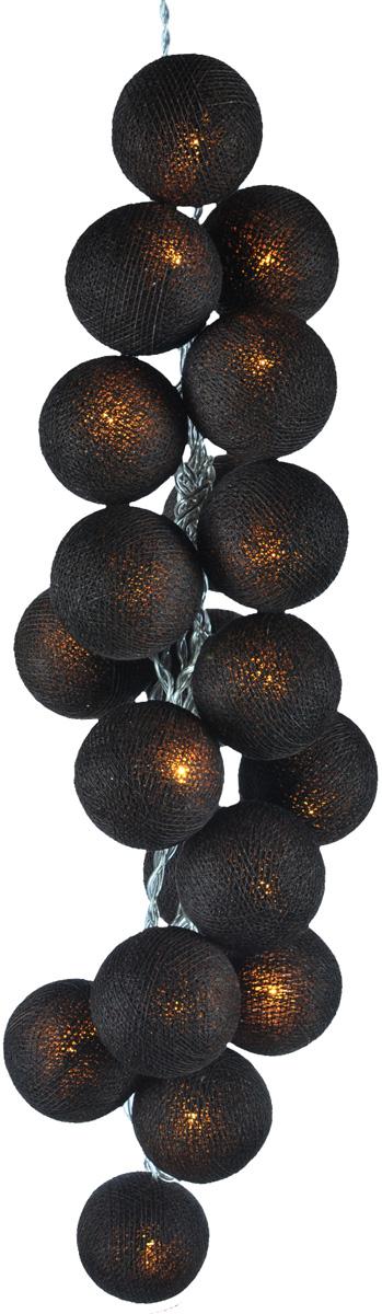 Гирлянда электрическая Гирляндус Темный шоколад, из ниток, LED, 220В, 50 ламп, 7,5 м4670025843843Нежная гирлянда ручной работы. Каждый шарик сделан вручную из ниток и клея, светится приятным мягким светом. Шарики хрупкие, но даже если вы их помнёте, их всегда можно выправить. Инструкция прилагается.