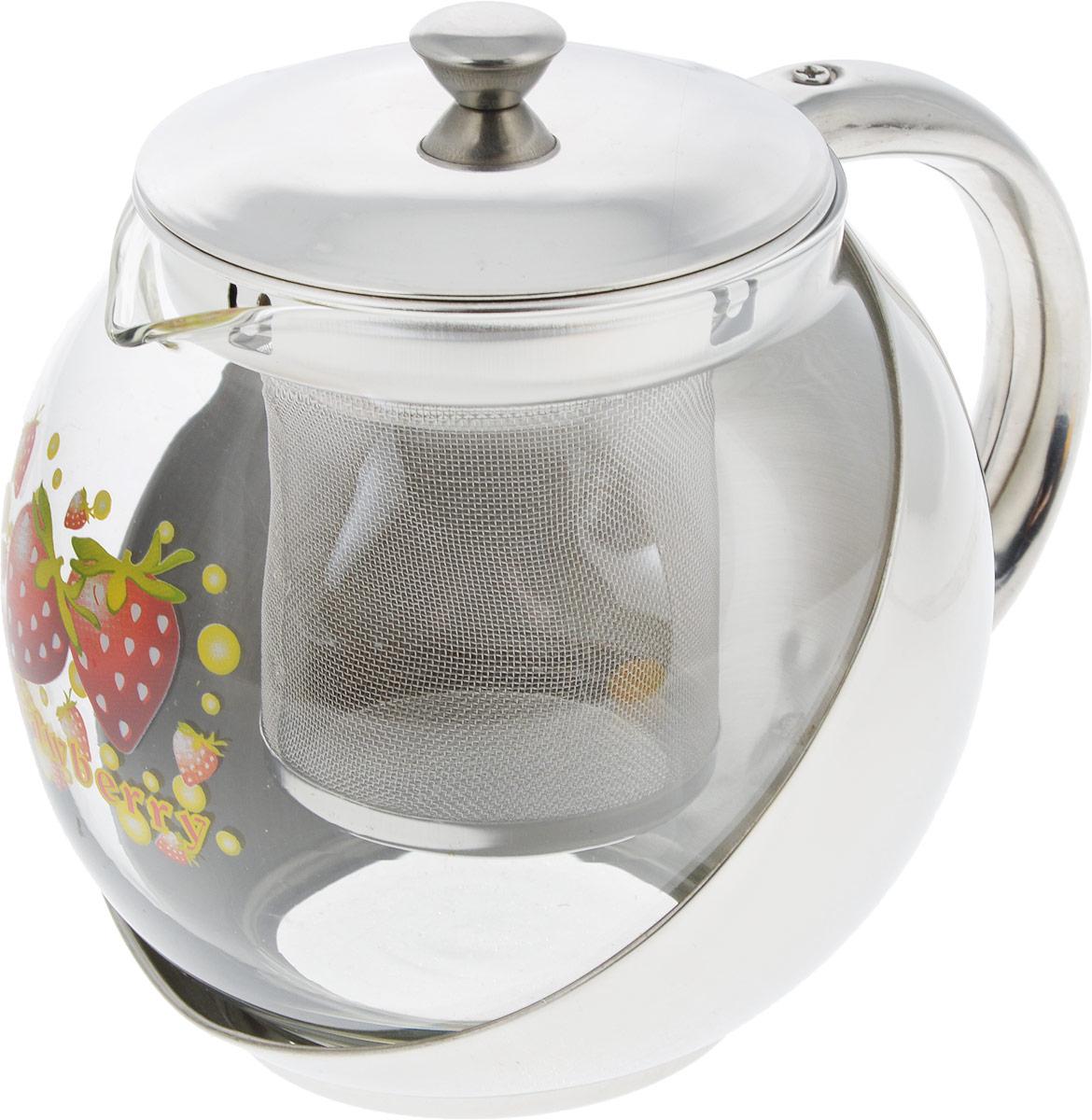Чайник заварочный Mayer & Boch Клубника, с фильтром, 700 мл2025_клубникаЗаварочный чайник Mayer & Boch Клубника позволит быстро и просто приготовить свежий и ароматный чай или кофе. Съемный фильтр из нержавеющей стали поможет приготовить чистый напиток без частиц заварки, а прозрачные стенки стеклянной колбы позволят наблюдать за приготовлением напитка.Изящный и современный стиль чайника прекрасно подчеркнет декор любой кухни.Диаметр (по верхнему краю): 8 см.Высота: 11 см.