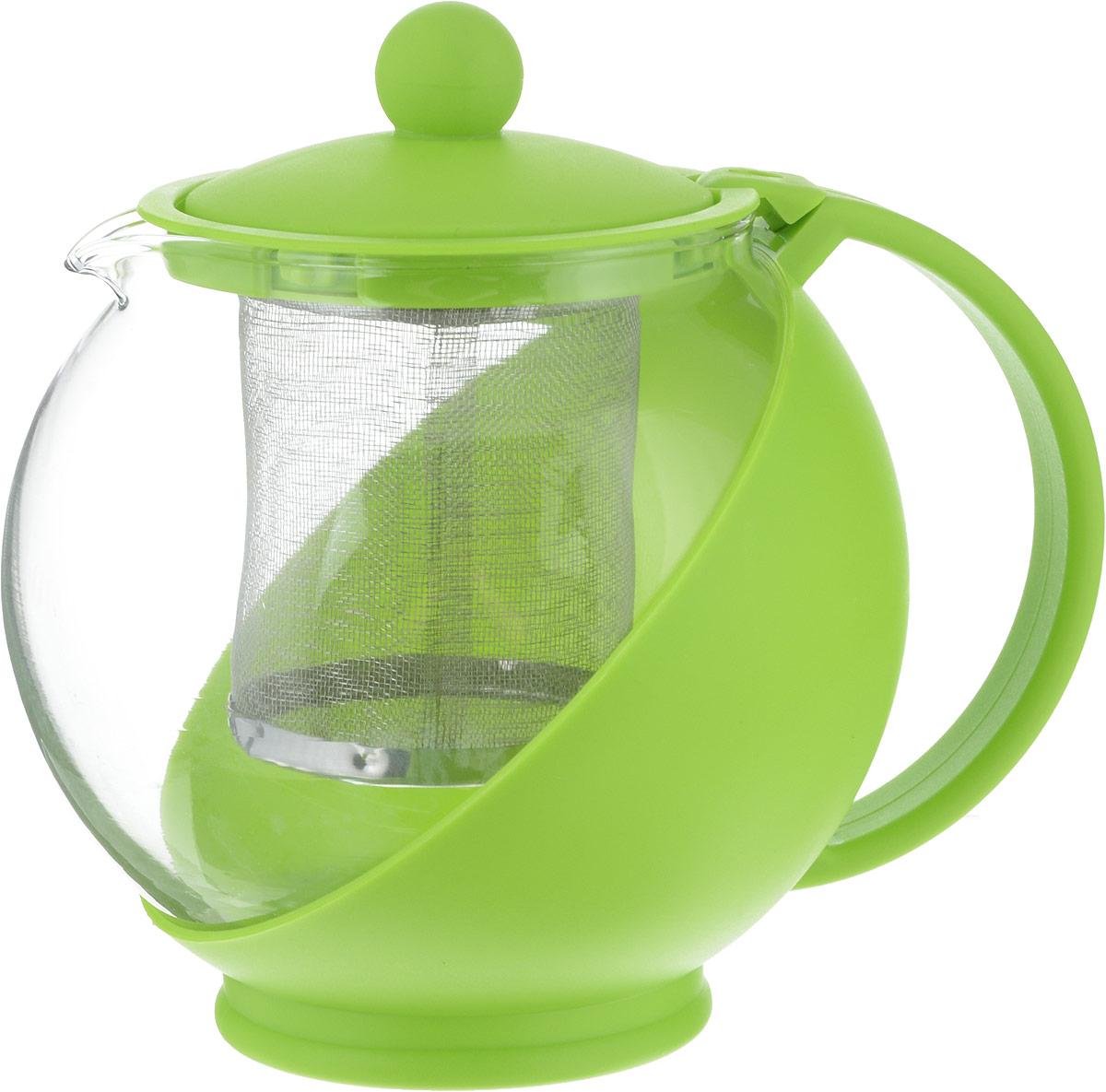 Чайник заварочный Irit, цвет: зеленый, 0,75 л. KTZ-075-003630028Чайник заварочный изготовлен из термостойкого не нагревающегося пластика и ударостойкого жаропрочного стекла. Съемный фильтр-ситечко из высококачественной хромо-никелевой нержавеющей стали с мелкими ячейками для чая разных сортов и разной степени измельчения рассчитан на оптимальное количество заварки при разных объемах чайников.Аккуратный птичий носик, из которого чай течет непосредственно в чашку, а не по выпуклому брюшку чайника. Устойчивое основание.Небольшой вес.