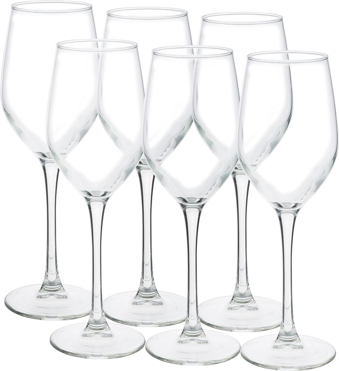 Набор фужеров для вина Luminarc Селест, 270 мл, 6 штL5830Стеклянные бокалы Luminarc Селест очень красивой формы, напоминающей полураскрытый тюльпан. Глубокие бокалы такой формы предназначены, как правило, для подачи белых вин. Особенность белого вина в том, что будучи выпитым из посуды неподходящей формы, оно теряет вкус, не раскрывает букет. Коллекция Luminarc Селест безупречна в этом плане.