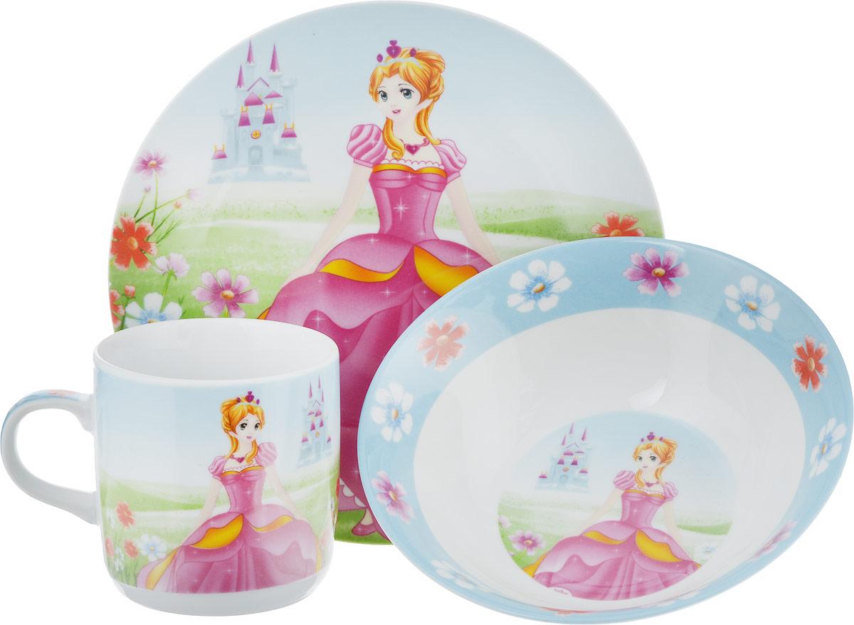 Набор посуды Mayer & Boch Принцесса, 3 предмета. 2339323393Набор посуды Принцесса сочетает в себе изысканный дизайн с максимальной функциональностью, на каждом предмете изображена принцесса, а такой рисунок обязательно порадует каждую девочку. Предметы набора выполнены из высококачественной керамики, декорированы красочным рисунком. Благодаря такому набору обед вашего ребенка будет еще вкуснее. Набор упакован в красочную, подарочную упаковку.В набор входят:тарелка обеденная, диаметр 17,5 см;тарелка суповая, диаметр 15 см;кружка 230 мл.