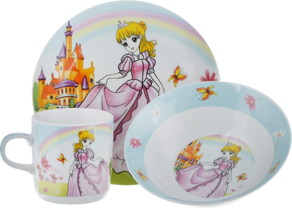 """Набор посуды """"Принцесса"""" сочетает в себе изысканный дизайн с максимальной функциональностью, на каждом предмете изображена принцесса, а такой рисунок обязательно порадует каждую девочку. Предметы набора выполнены из высококачественной керамики, декорированы красочным рисунком. Благодаря такому набору обед вашего ребенка будет еще вкуснее. Набор упакован в красочную, подарочную упаковку. В набор входит: тарелка обеденная; тарелка суповая; кружка."""