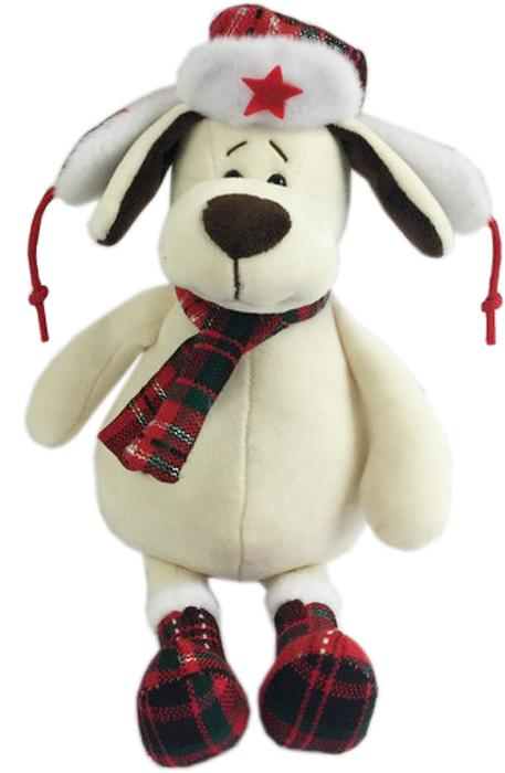 Teddy Мягкая игрушка Собака в ушанке с шарфом 24 см teddy мягкая игрушка собака в голубом пиджаке 18 см