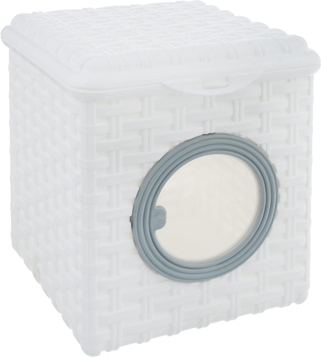 Контейнер для мелочей Violet Ротанг, цвет: белый, 17 х 19 х 19 см810517_белыйКонтейнер Violet изготовлен из прочного пластика и оформлен плетением под корзинку. Контейнер имеет прозрачное пластиковое окошко и откидную крышку, которая закрывается на защелку.