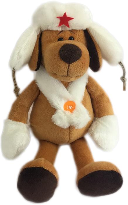 Teddy Мягкая игрушка Собака в белой ушанке 16 см