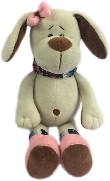 Teddy Мягкая игрушка Собака с розовым бантом 17 см
