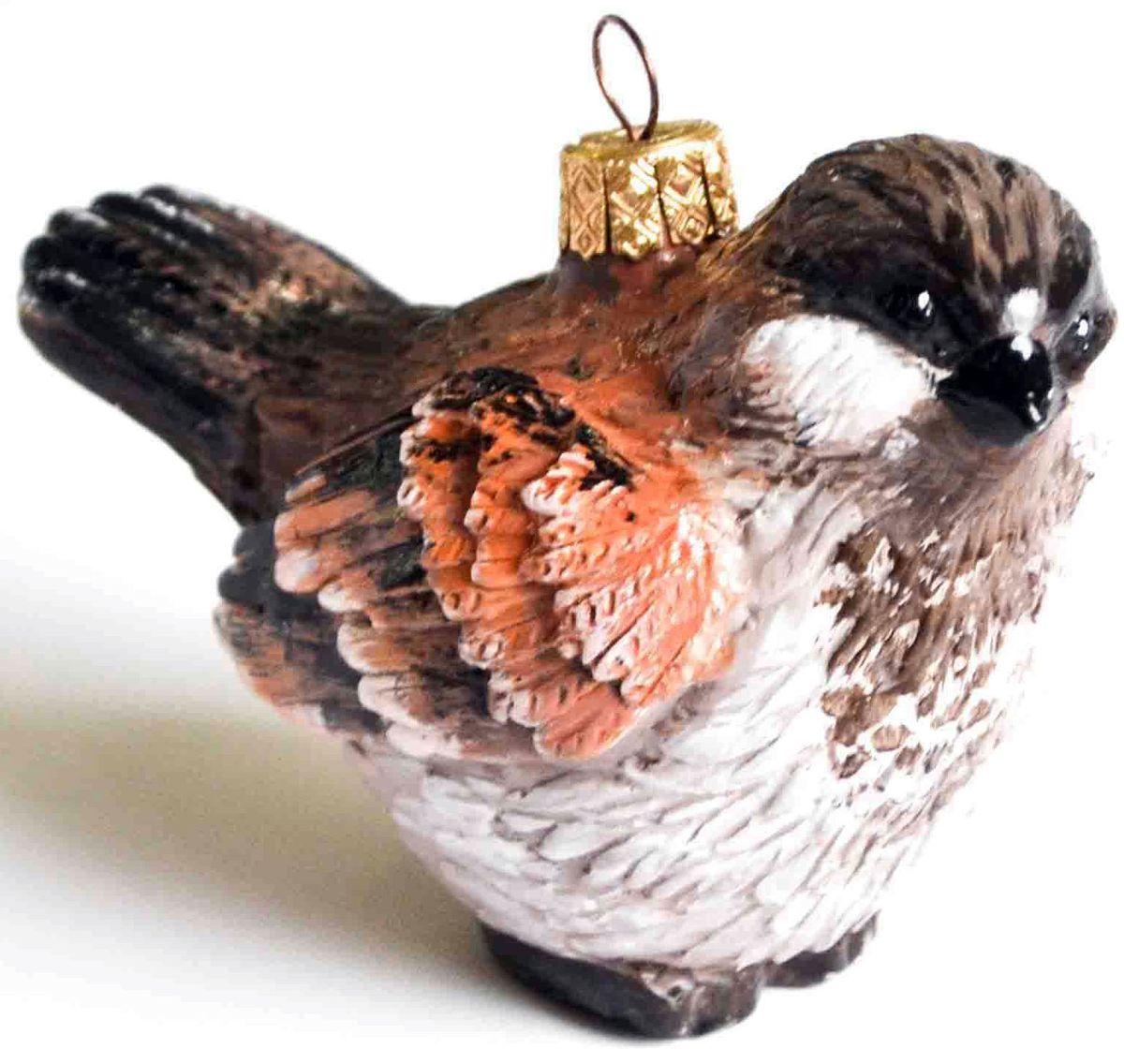 Украшение новогоднее подвесное Воробей, цвет: коричневый, черный, белый, 9,5 х 5 х 7,7 смЕГ-9Елочная игрушка - символ приближающегося праздника. Она послужит прекрасным подарком как для ребенка, так и для взрослого, а также дополнит новогодний интерьер. Интересная птичка будет отлично смотреться на праздничной елке.
