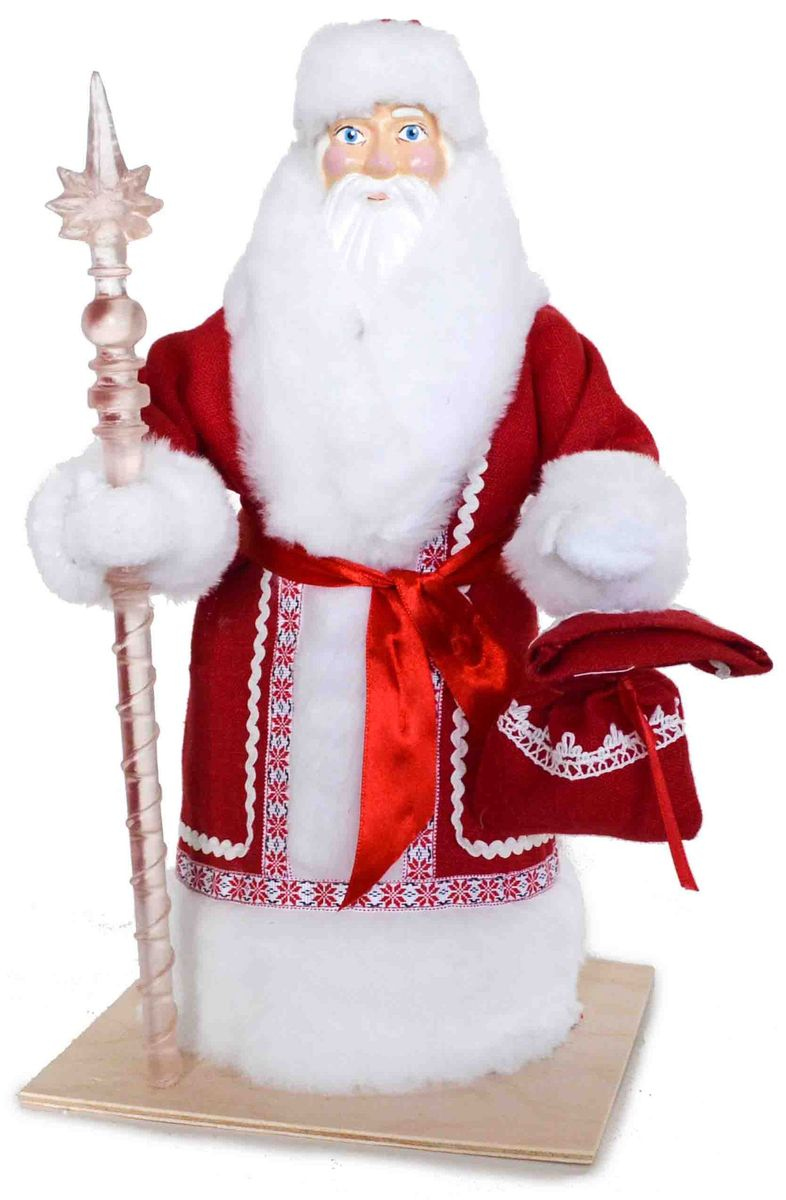 Декоративная фигурка Дед Мороз, цвет: красный, белый, 17 х 17 х 33 см170693Фигурка выполнена в виде Деда Мороза, который держит в руках посох и мешок с подарками. Такая фигурка украсит интерьер вашего дома или офиса в преддверии Нового года. Новогодние украшения всегда несут в себе волшебство и красоту праздника.