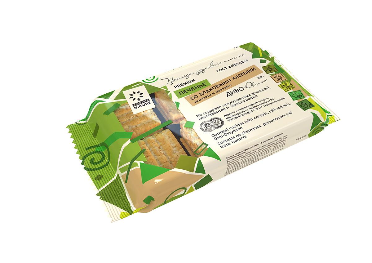 Absolute Nature Диво овсяное печенье со злаками, молоком и орехами, 230 г хлеб