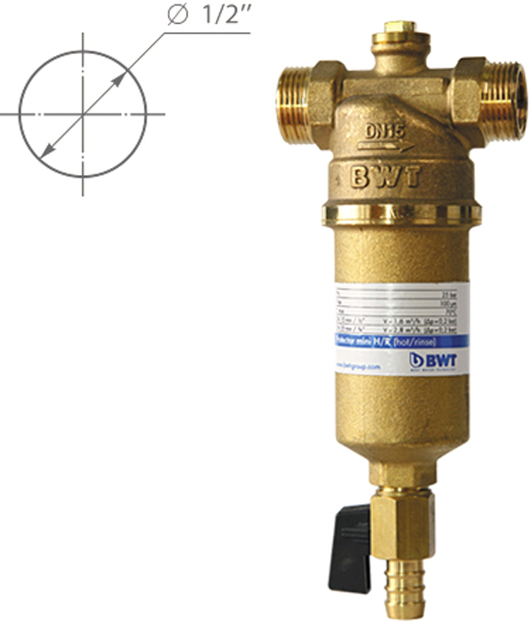 Водоочиститель BWT Protector Mini Г/в 1/2, прямая промывка9022000105067Магистральный фильтр Protector Mini устанавливается на линиях горячей воды для очистки от механических примесей и контроля давления воды в квартире