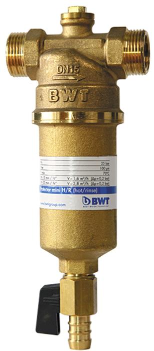 Водоочиститель BWT Protector Mini Х/в 1, прямая промывка9022000105319Магистральный фильтр Protector Mini устанавливается на линиях холодной воды для очистки от механических примесей и контроля давления воды в квартире